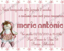 Convite Boneca de Pano