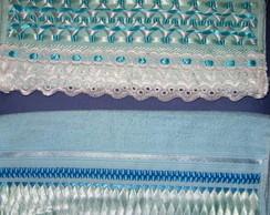 Toalha bordada Azul