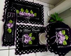 Jogo de banheiro preto e lil�s 4 pe�as