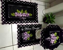 Jogo de banheiro preto e lil�s