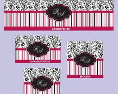 Kit Toalete Floral/Listas - R�tulos