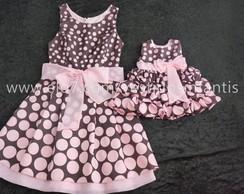 Vestido Tal M�e Tal Filha Marrom e rosa