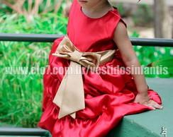 Vestido Vermelho com dourado