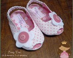 Sapatinho Peep Toe branco po� rosa