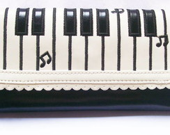 Carteira Clutch Piano Musical