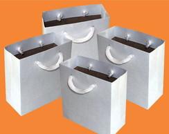 Sacola Mini 10x10x4,5 cm - branca/kraft