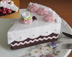 Caixa fatia de bolo de feltro