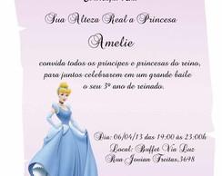 Convite Pergaminho Cinderela Rosa