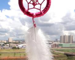 Filtro dos Sonhos P/ Carro Rosa e Branco
