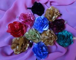 Flores de cetim para cabelos