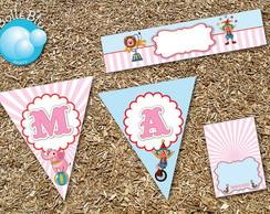 Circo rosa azul Kit Festa Digital baby