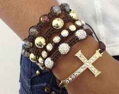 Kit shambala crucifixo cor caf�