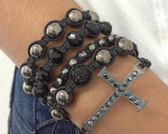 Kit shambala e crucifixo grafite