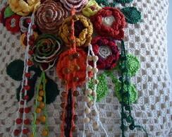 Almofada de crochet com flores