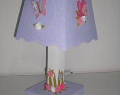 Abajur - Flores Lil�s com Bolinhas Rosa