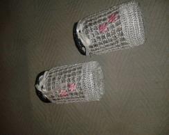 potes de vidros em croch�