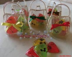 50 Mini Bolsinhas c/ Cora��es de Frutas