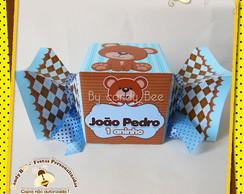 Caixa Bala Ursos Marrom E Azul