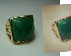 Anel Folhado Pedra �gata Verde Facetado