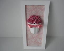 Quadro Vaso de Flores Rosa