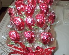 Cachepot com Rosas de Chocolates