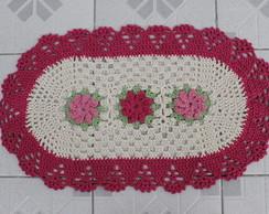 Tapete Oval feito em croch� - Flores