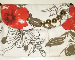 Clutch Com Chatons - PB vermelho Floral