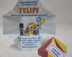 Convite Caixa Infantil Tenda de Circo