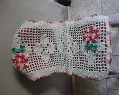 Passadeira De Croch� C/ Flores vermelhas