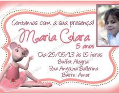 Convite Angelina Ballerina com foto