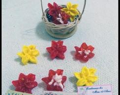Mini cesto de vime com 03 mini orqu�deas