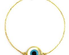 Pulseira olho grego madrep�rola dourado