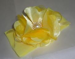 Faixa De Meia amarela Flor De Cetim