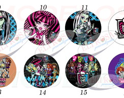 Adesivos Redondos 5x5 Tema: Monster High