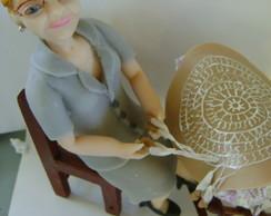 topo de bolo vov� em biscuit  80 anos