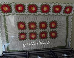 Capa de fog�o 06 bocas flores vermelhas