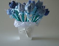 lembrancinha-kit l�pis com tulipa+vaso