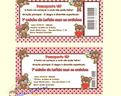 Convite Passaporte Ursinha rosa e marrom