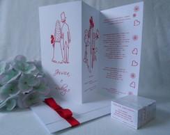 Convite de Casamento Sanfonado Vermelho