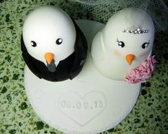 Topo de bolo com data do casamento