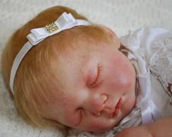 Faixa beb� branca c/ la�o em cetim (5cm)