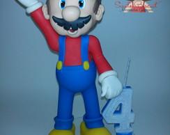 Topo de bolo com Vela Super Marios