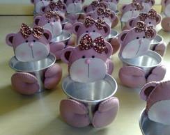 Cachep� ursinho marrom e rosa