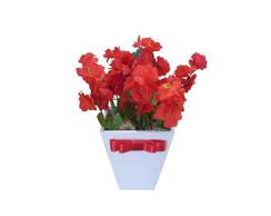 Vasinho P de Flores Vermelhas