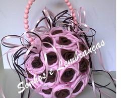 Porta Alian�a Pompom - rosa e marrom