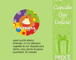 Festa Cupcake - etiqueta redonda
