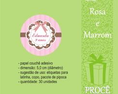 Festa Rosa e Marrom - etiquetas redondas