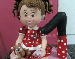 Topo de bolo menina minie com velinha