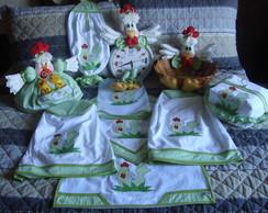 Kit de cozinha galinha em tons de verde.