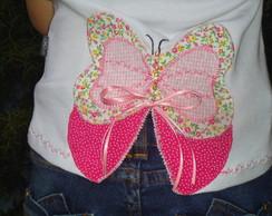 Camiseta Borboleta Rosa